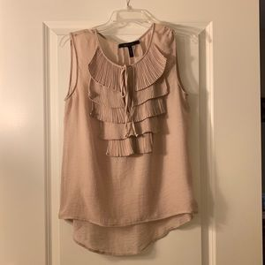 BCBG MaxAzria blush sleeveless blouse with ruffles